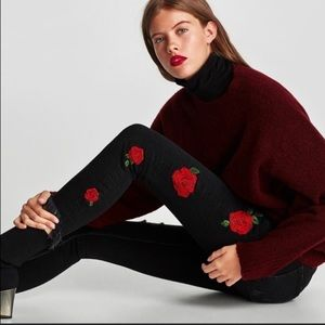 HP Zara distressed jeans with embroidered roses